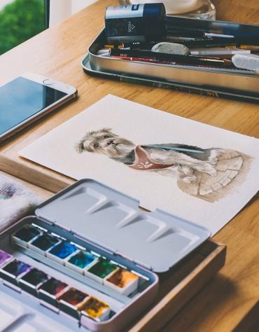 Ilustración a pedido + Tazón enlozado